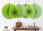 Customized Printing Round Paper Fan Decorations , Mint Green Paper Fans