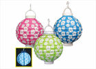 China Green Flower Led Paper Lantern Lights Unique Design For Cultural Center factory