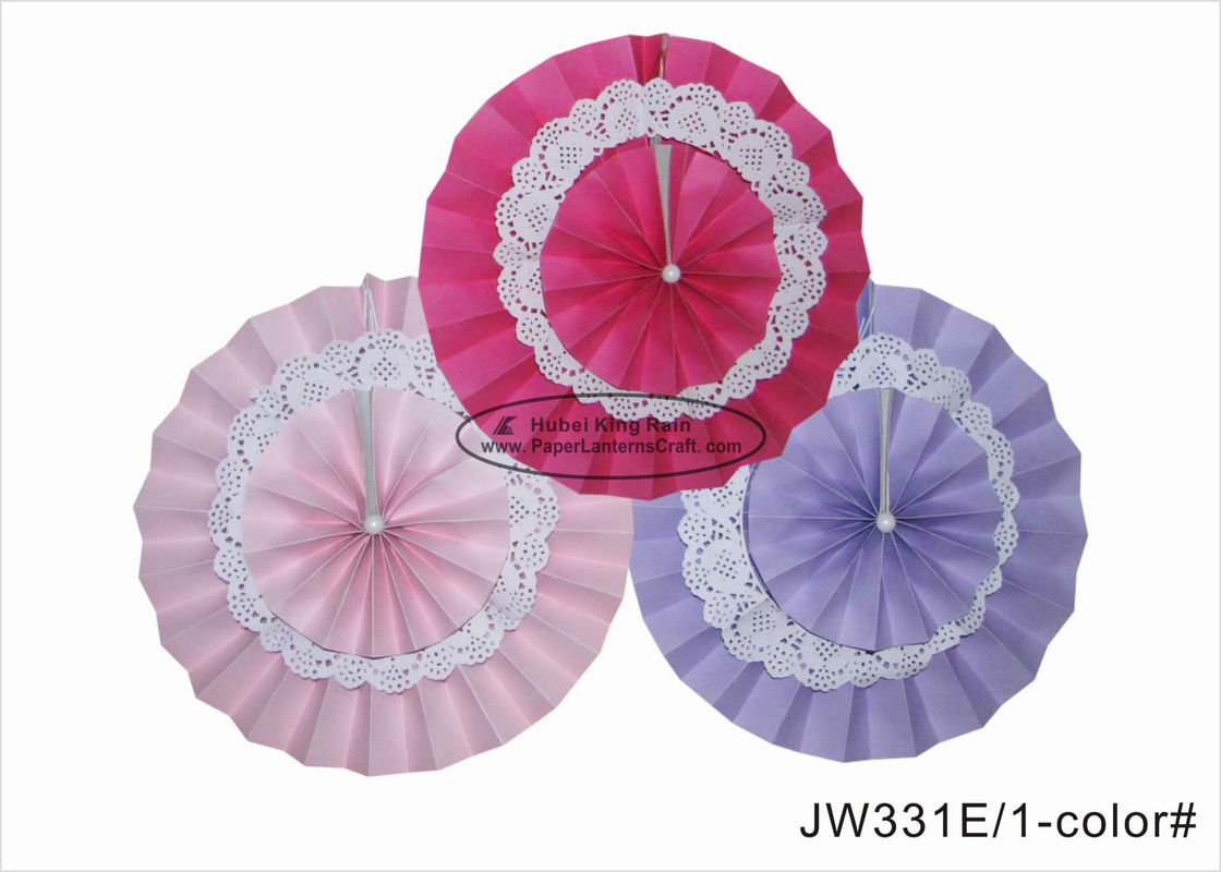 14 Inch Double Layer Pink Paper Fan Decorations For Themed Party Decor