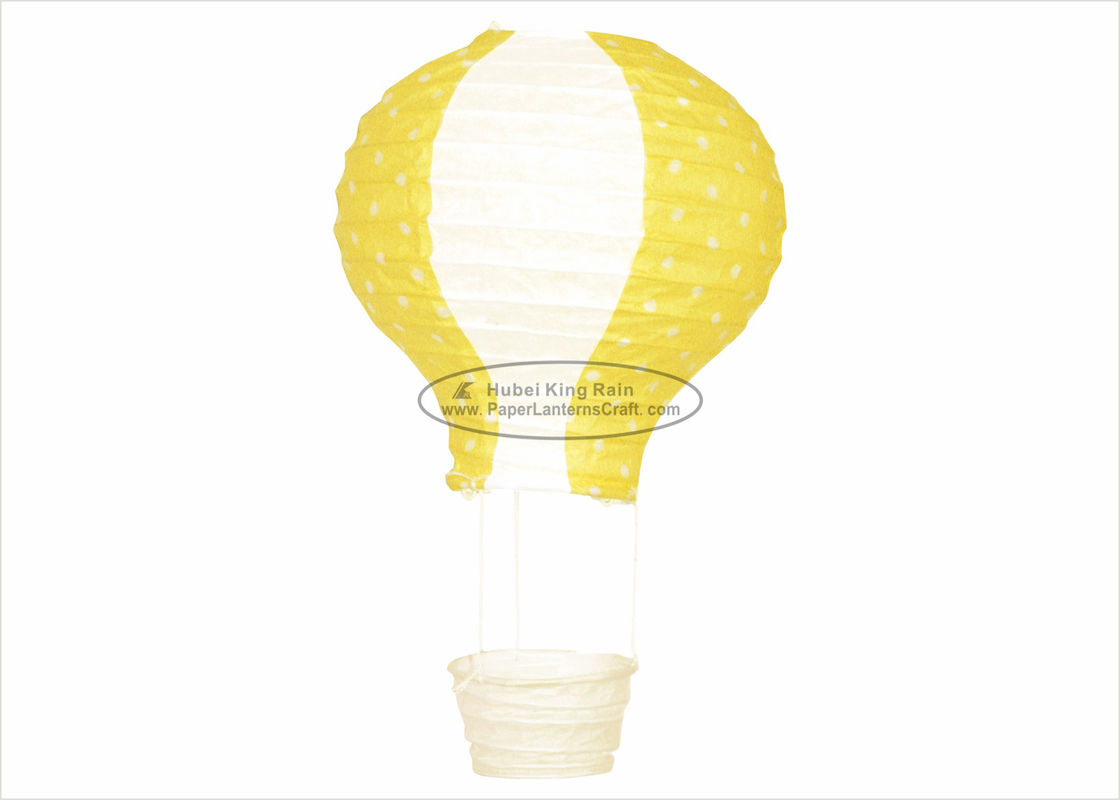 Yellow Paper Balloon Lanterns Lampion 13 X 22cm For Christmas Led Lights