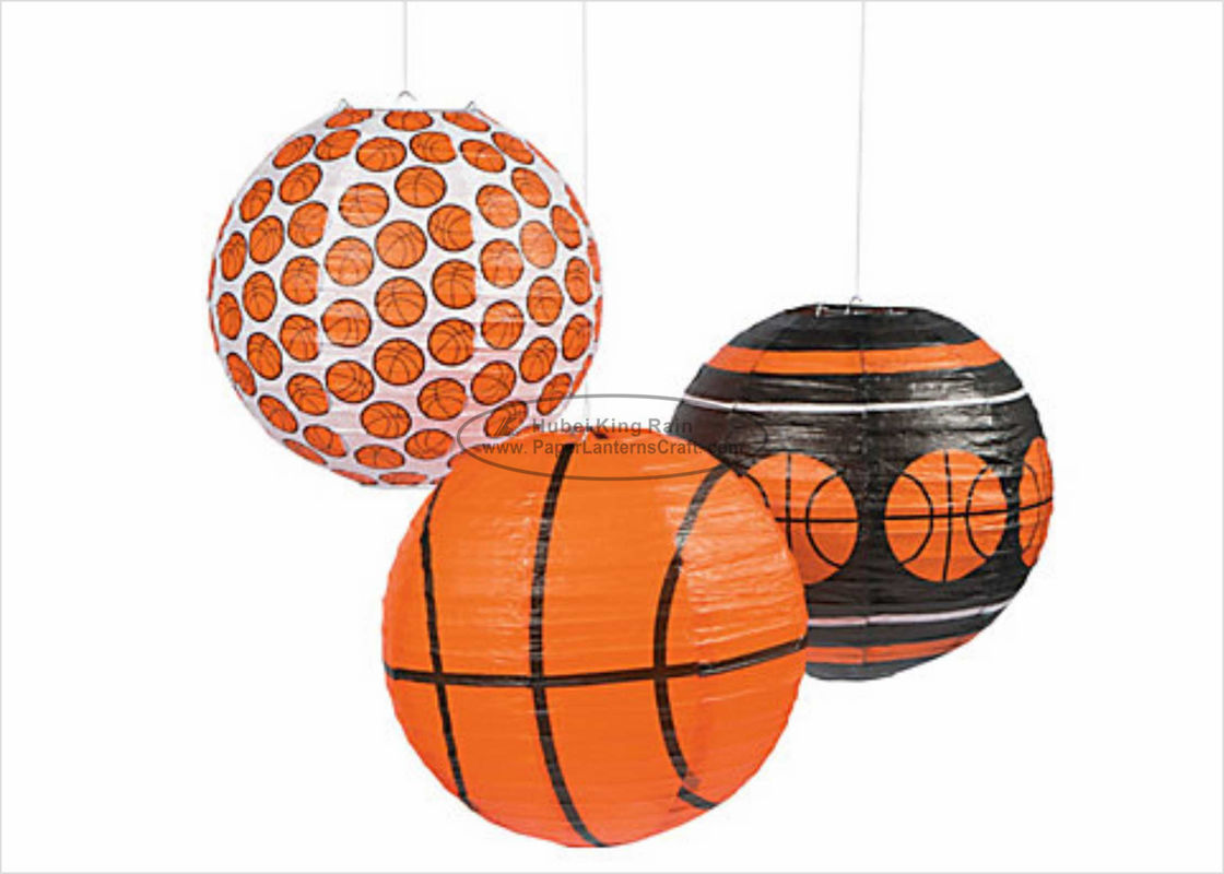 Tissue Paper Football Paper Lanterns , 12 Inch 10 Inch Paper Lanterns Cartoon Printe