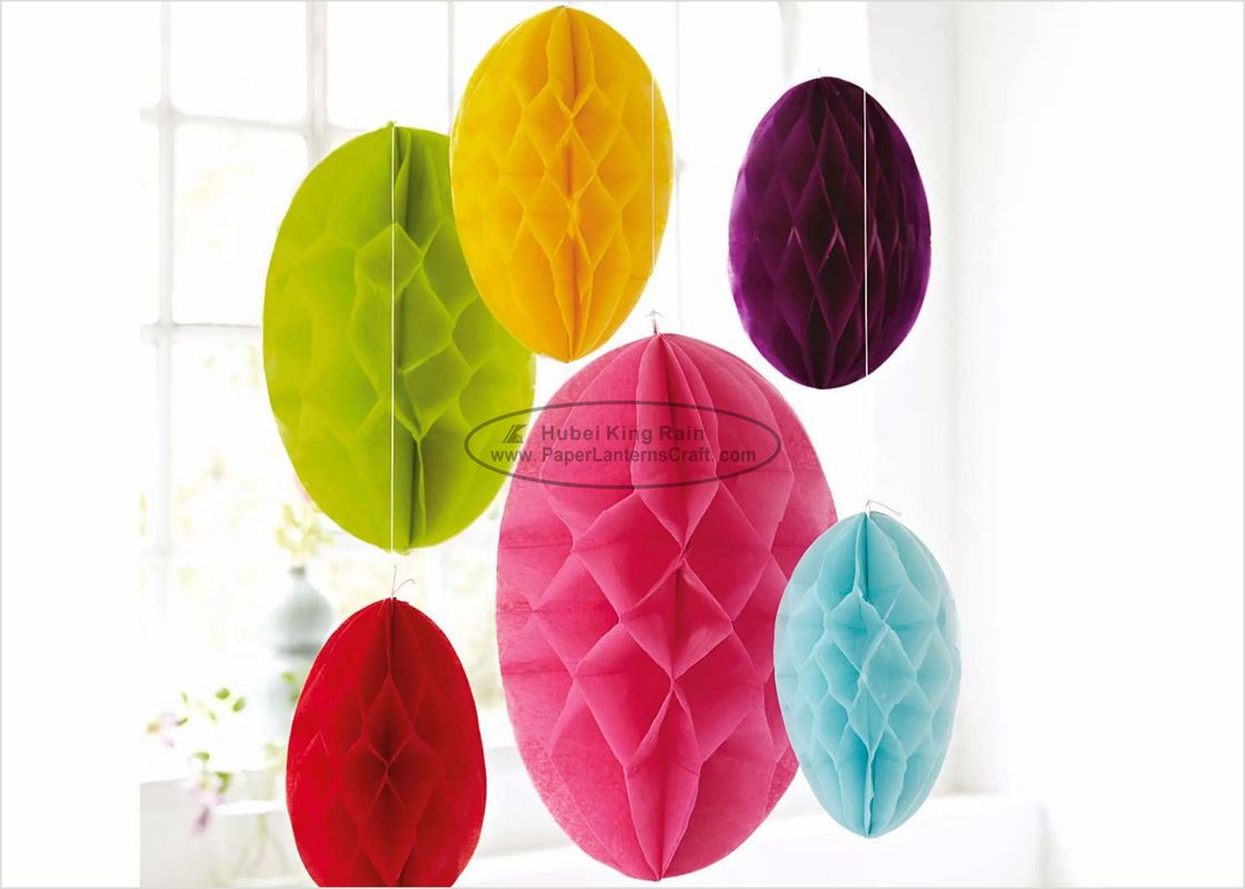"Hanging Yellow Paper Honeycomb Easter Egg 10"" 12"" 14"" Easter Lovely Egg Decoration"