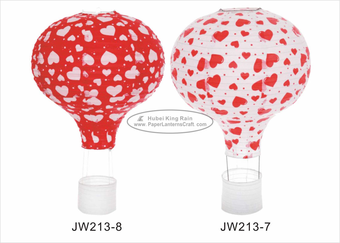 "12"" 14"" 16""  Red Hot Air Balloon Paper Lantern Hearts Pattern For Event And Party"