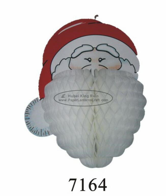 Customized 3D Paper Hanging Christmas Decorations Santa Claus Honeycomb Craft