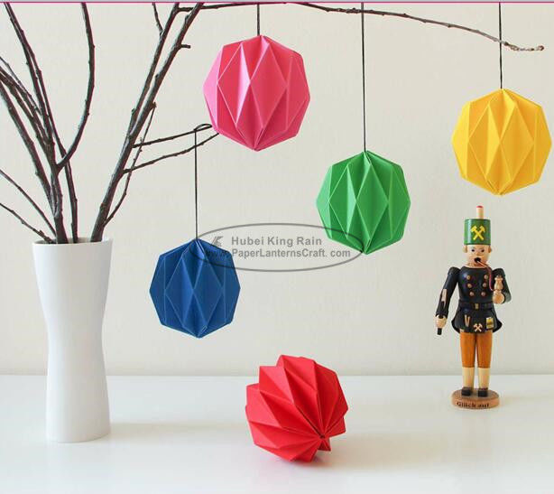 Mini Yellow Fuschia Origami Floating Lantern 10cm Folded Origami Christmas Tree Decorations