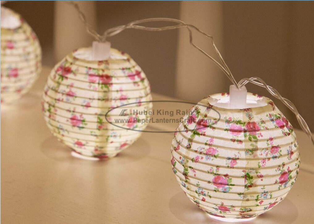 Flower Battery Operated Paper Lantern String Lights 75 Cm Energy