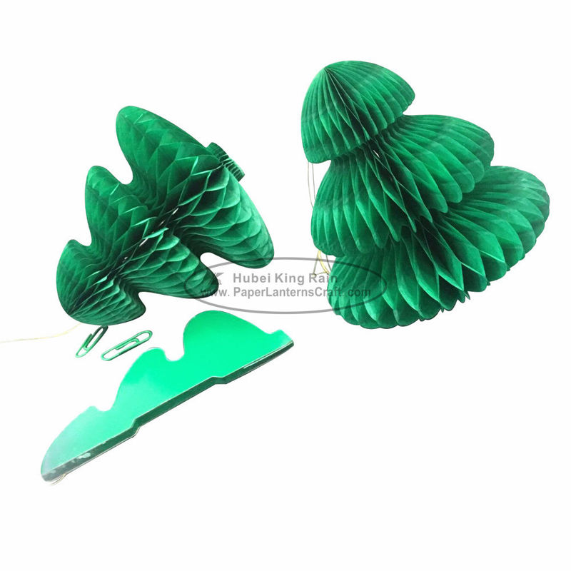 Portable Green Tree Paper Christmas Decorations Paper Honeycomb Ornament