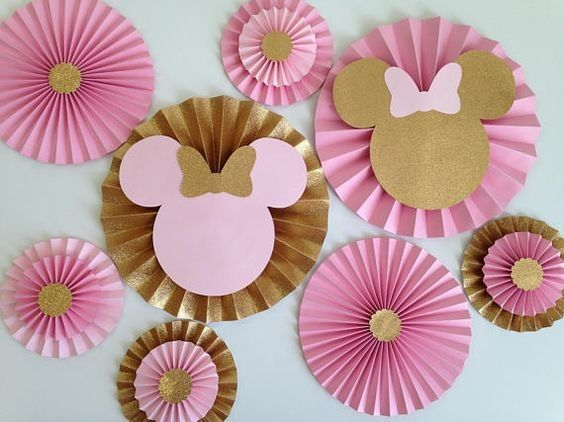 Cartoon Mice Multilayer Paper Fan Backdrop Round Folding Fans Hanging