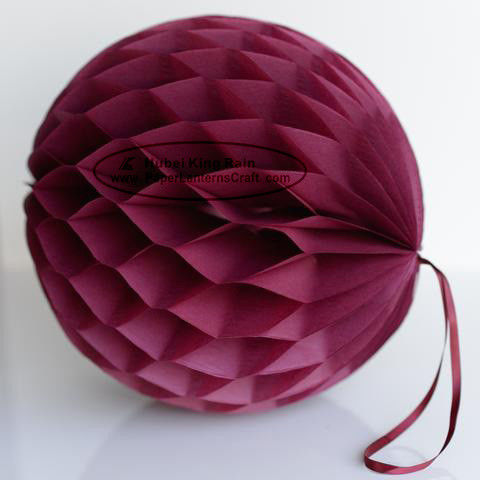 DIY Burgundy Tissue Paper Honeycomb Balls Pom Poms With Loop For Hanging