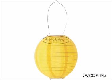 20cm Yellow Metal Hanging Led Paper Lantern Lights Battery Powered OEM ODM