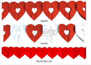 Pink Red Paper Wedding Decorations , 3m 4m Paper Heart Garland For Park